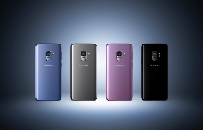 The Samsung Galaxy S9 lineup in four colors.