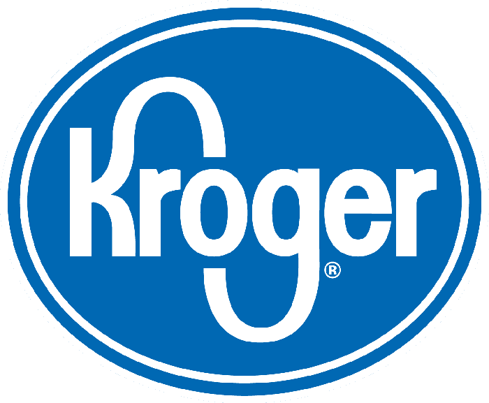Kroger logo in blue on white background.