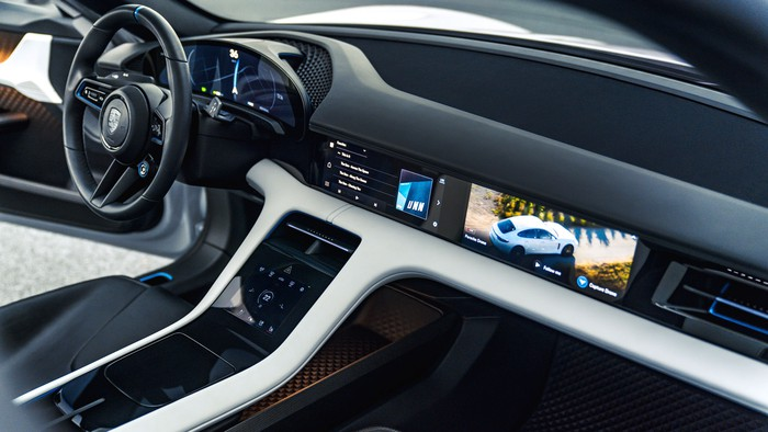 A view of the Mission E Cross Turismo's front seats and dash.