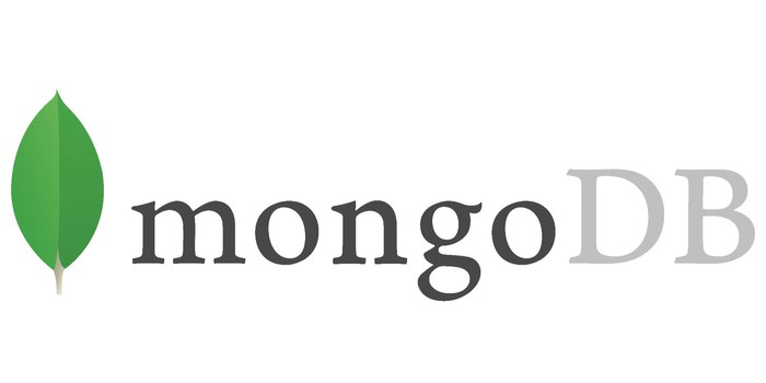 The MongoDB logo in gray letters and a green leaf to the left of it