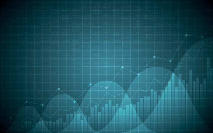Stock chart with a line graph on dark blue background.