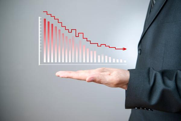 stock bar chart down