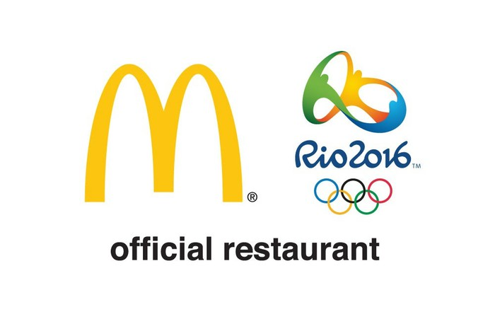 Golden Arches with Rio Olympic logo and statement of being official Olympic restaurant.