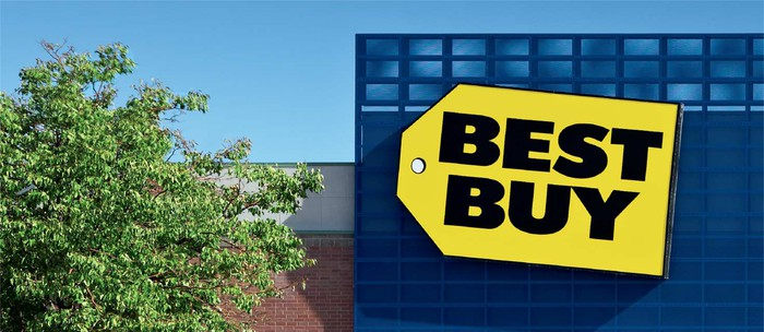 The Best Buy logo on the front of a store.
