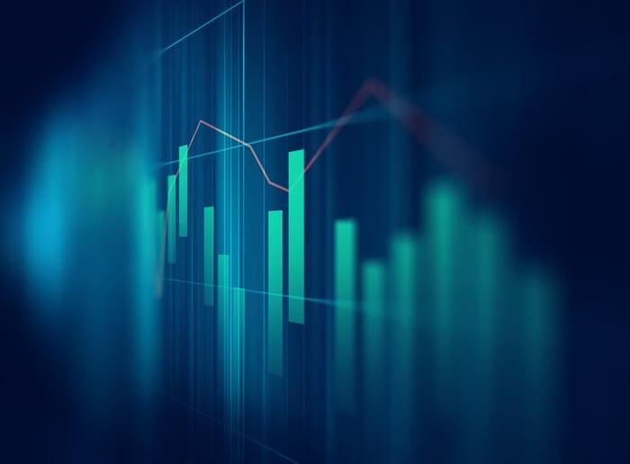 Stock chart showing bar graphs on dark green background.