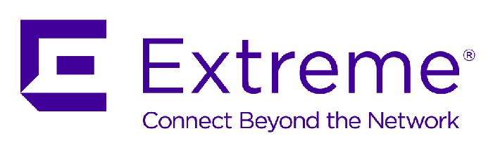 Extreme Networks' corporate logo, purple on white with the tagline Connect Beyond the Network.