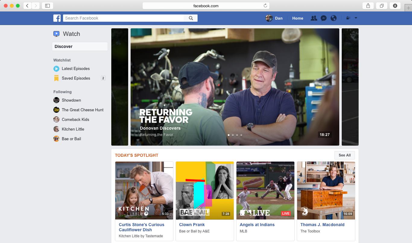 Facebook Watch on desktop