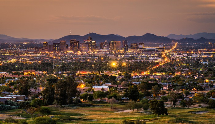 Phoenix, Arizona at dusk.