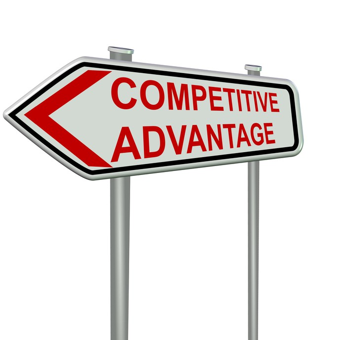 An arrow-shaped sign with the words competitive advantage on it.
