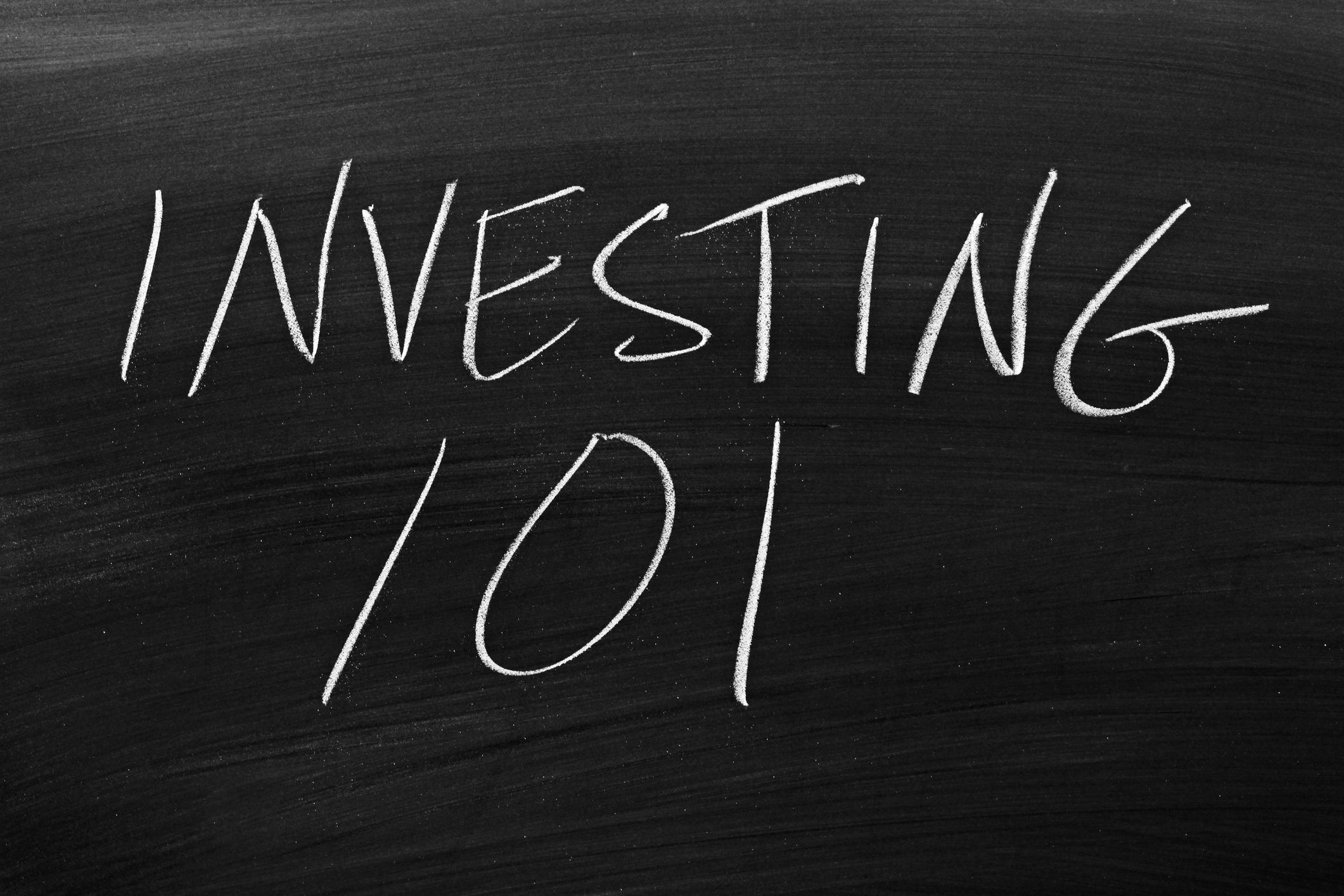 investing 101, written on a blackboard