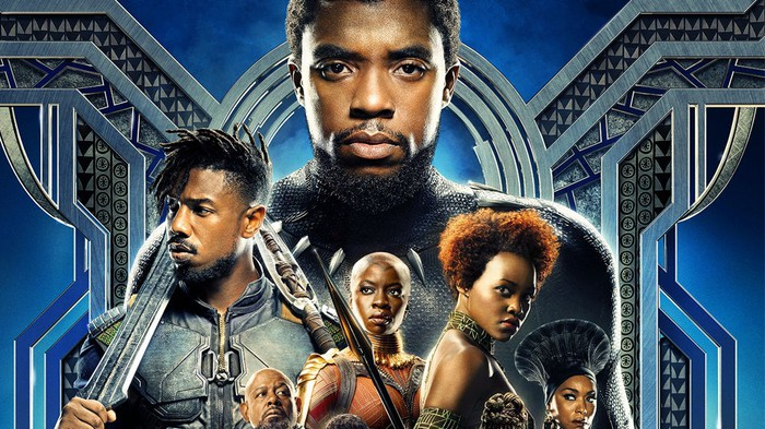 Black Panther movie poster featuring cast members.