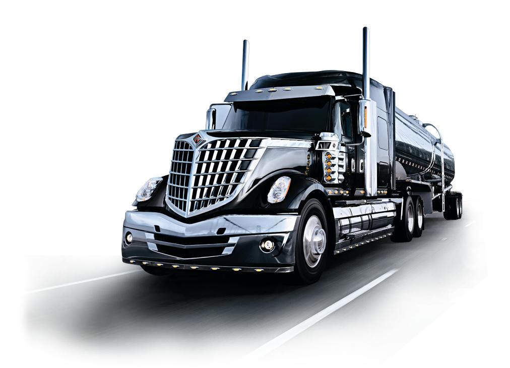 Black Navistar semitractor-trailer truck on a road.