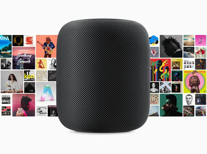 HomePod with album covers in the background