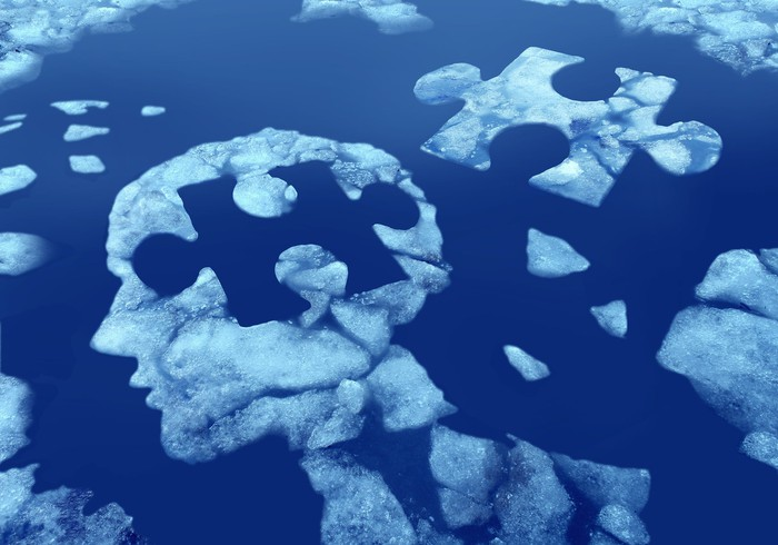 Ice floating in water shaped like human head with jigsaw puzzle piece hole in the head