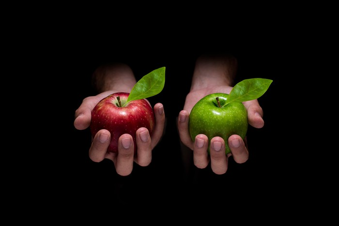 A pair of hands holding a red apple on one hand and a green apple on the other.