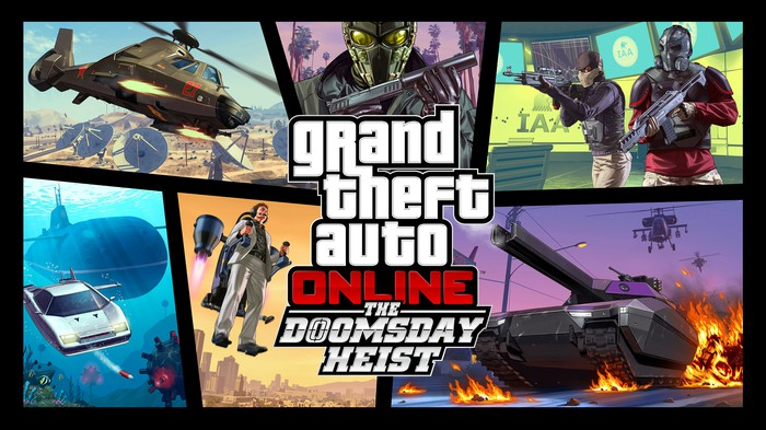 A collage of images depicting characters and action scenes from Grand Theft Auto with the title Grand Theft Auto Online The Doomsday Heist in the center.