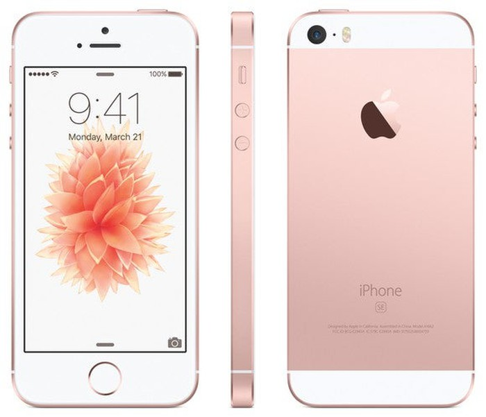 The front, side, and back of a rose-gold iPhone SE.