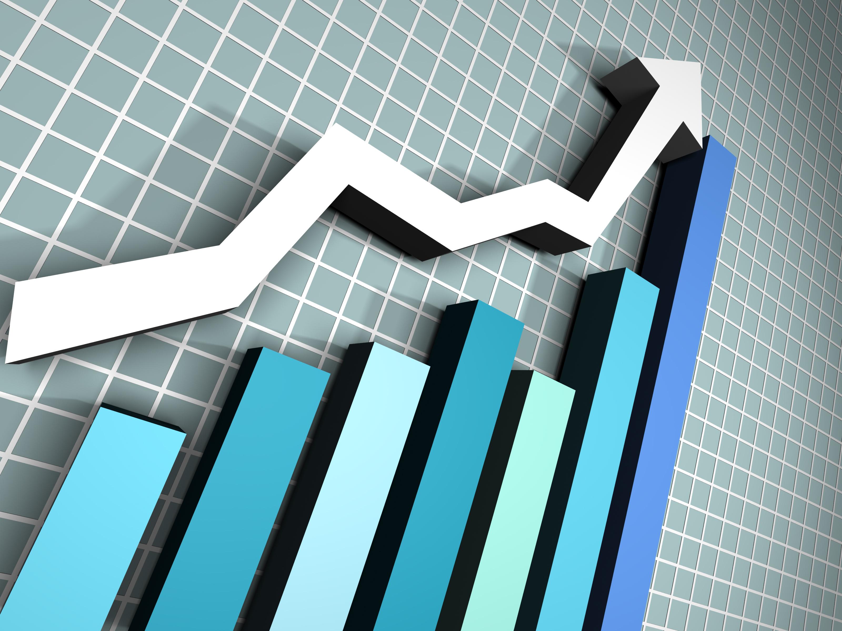 A chart line going up over a bar graph.