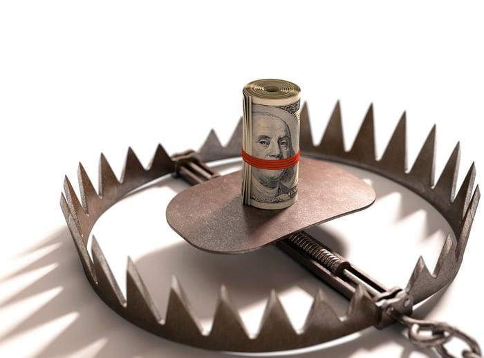 Bear trap with roll of 100 dollar bills as bait.