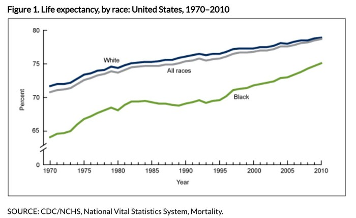 Chart showing life expectancy from 1970 to 2010