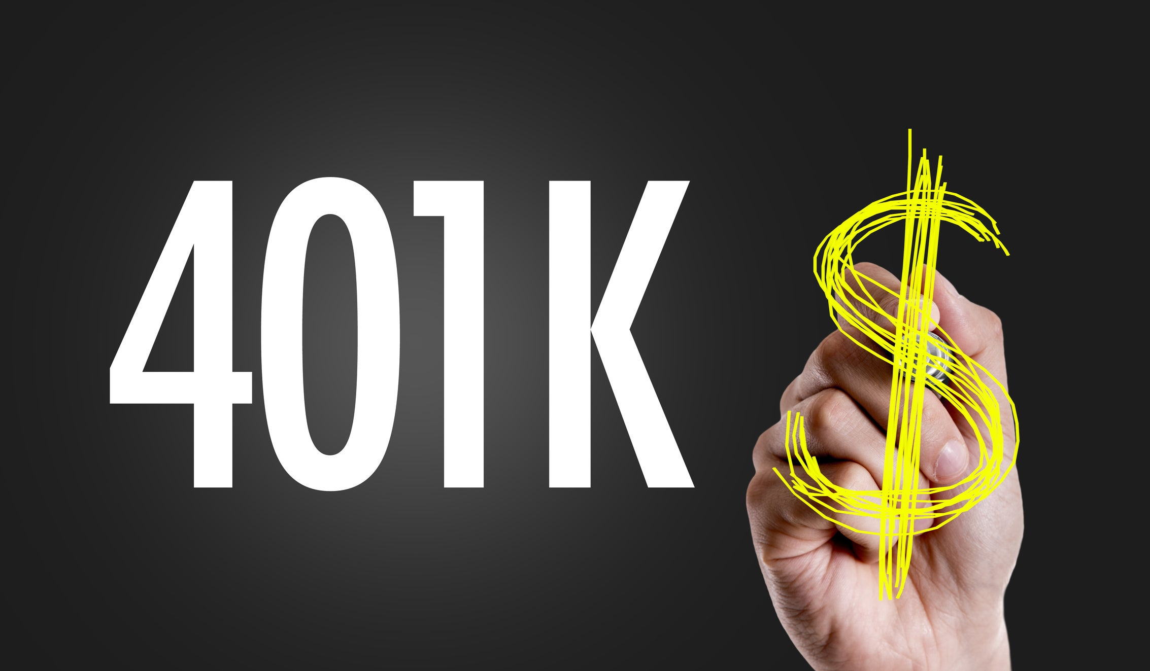 401K in white letters on a black background, with a hand drawing a yellow dollar sign right next to it