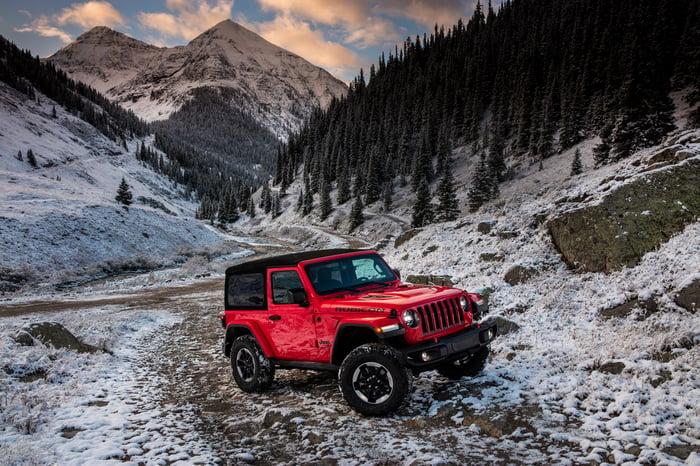 2018 Jeep Wrangler Rubicon traversing rocky and snowy terrain.