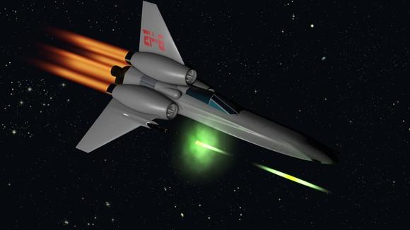 Space plane firing laser guns