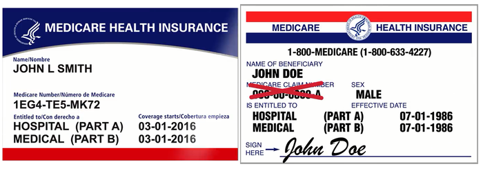 New sample Medicare card next to existing old-format Medicare card.
