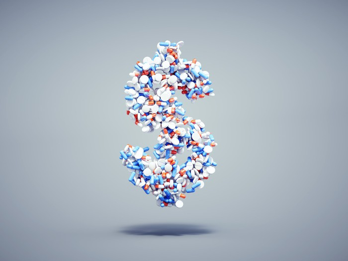 Pills making dollar sign in red, white, and blue colors.
