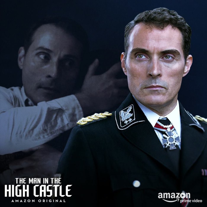 A man wearing a Nazi uniform in a scene from Amazon series The Man in the High Castle.