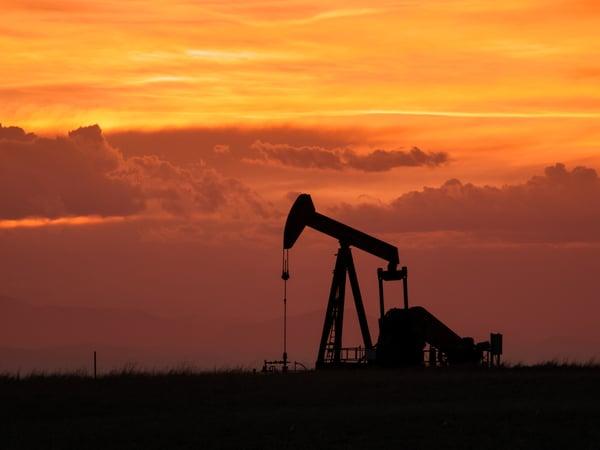 Oil pumpjack red sky