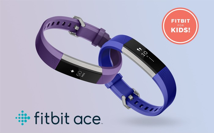 Two Fitbit Ace trackers, on in purple, the other in blue