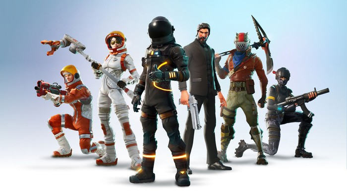 A lineup of six characters from Epic Games' Fortnite.