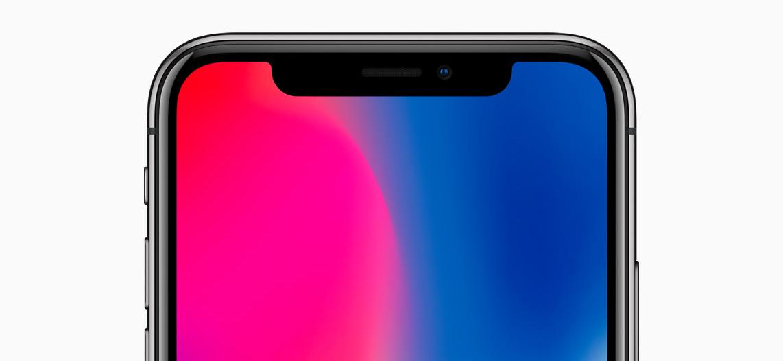 Top half of iPhone X display