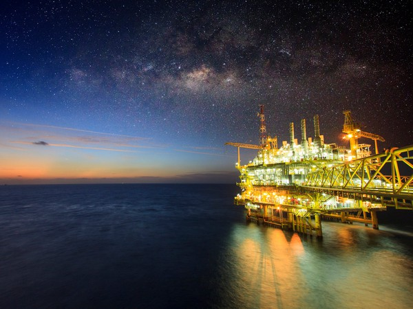 Getty Offshore Oil Rig at Night