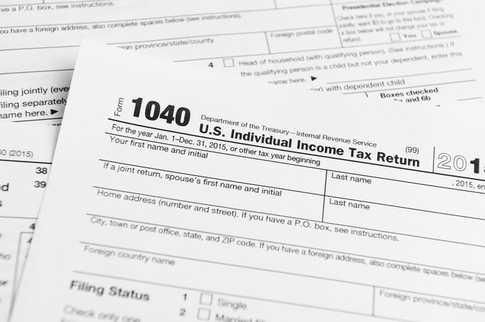 Paper copes of tax form 1040.