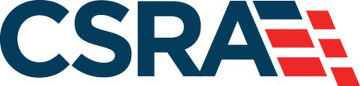 CSRA logo -- large navy letters with a navy and red symbol to the side