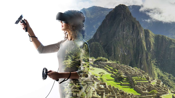 Microsoft mixed reality user in a virtual world.