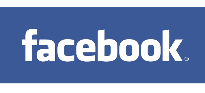 Facebook logo in white letters on blue background.