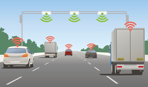 Self-Driving Vehicles Animated Image Cars Communicating With Each Other