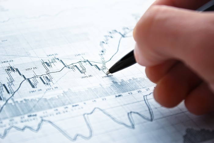 A person using a pen to analyze stock market movements.