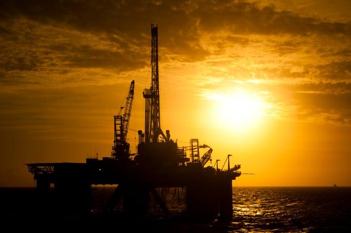 offshore oil platform at sunset.