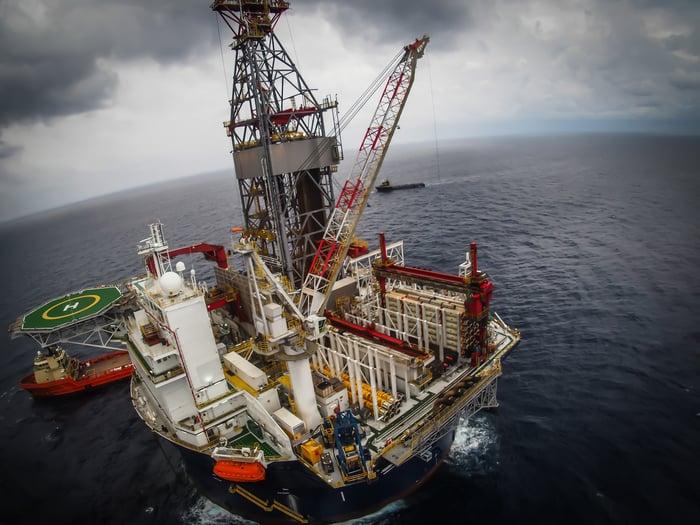 Overhead shot of oil platform in the ocean.