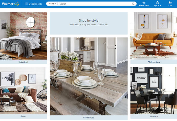 A screenshot of Walmart's new home goods web page.