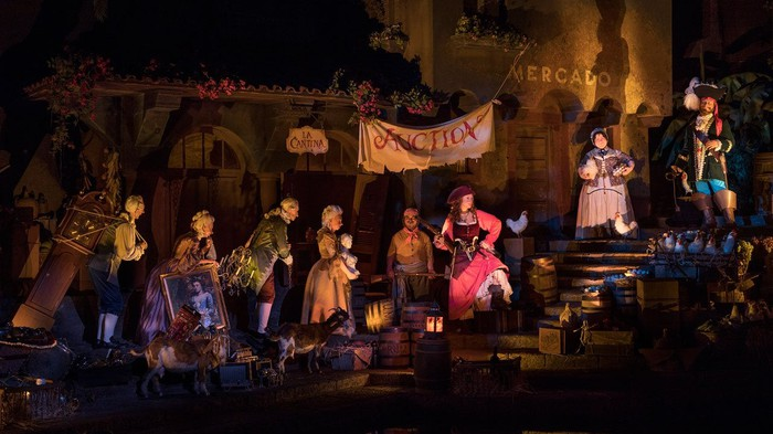 Disney's updated Pirates of the Caribbean scene, with Redd now a pirate putting her pillaged rum up for sale