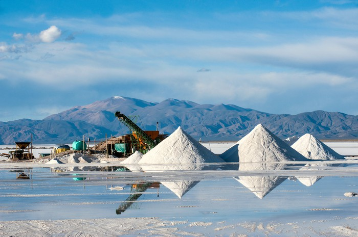 A lithium brine mining operation, showing evaporation ponds, with mountains and blue sky in background.
