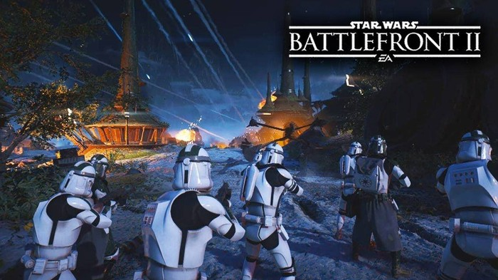 A team of six stormtroopers from EA's Battlefront II.