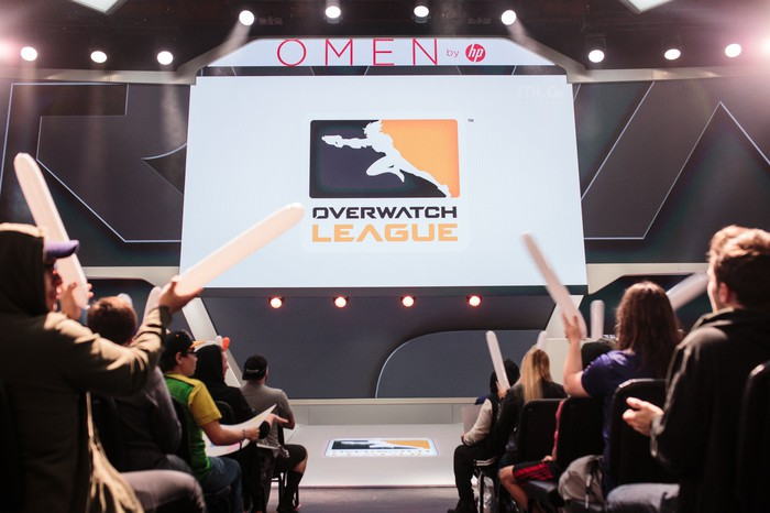 Overwatch League logo displayed on stage at Blizzard Arena.