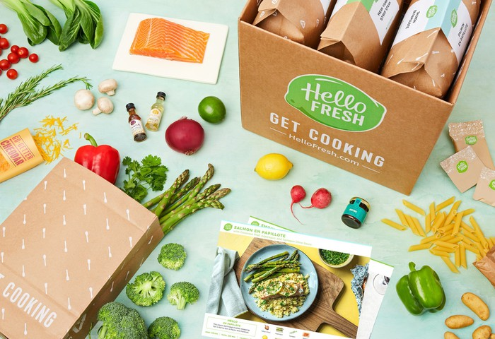 A HelloFresh package with contents laid out on a table.