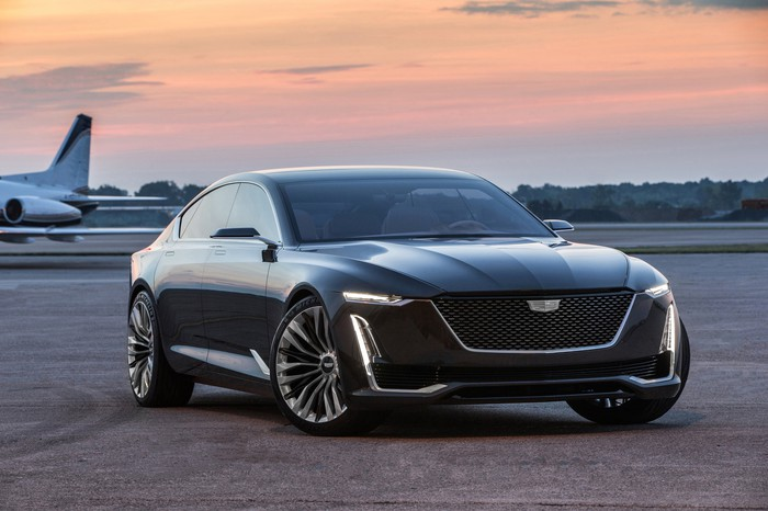 The Cadillac Escala show car, a futuristic luxury sedan.